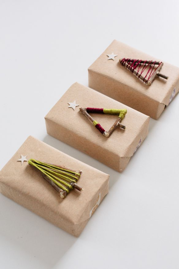 упаковка подарка+елка из веточек